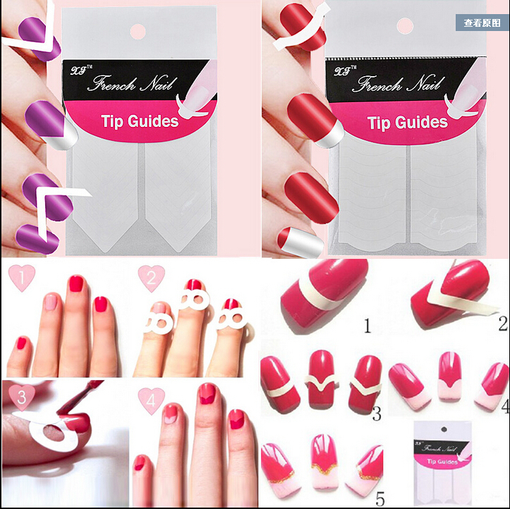 100Pcs Golden Nail Art Tips Extension Forms Guide French DIY Acrylic ...