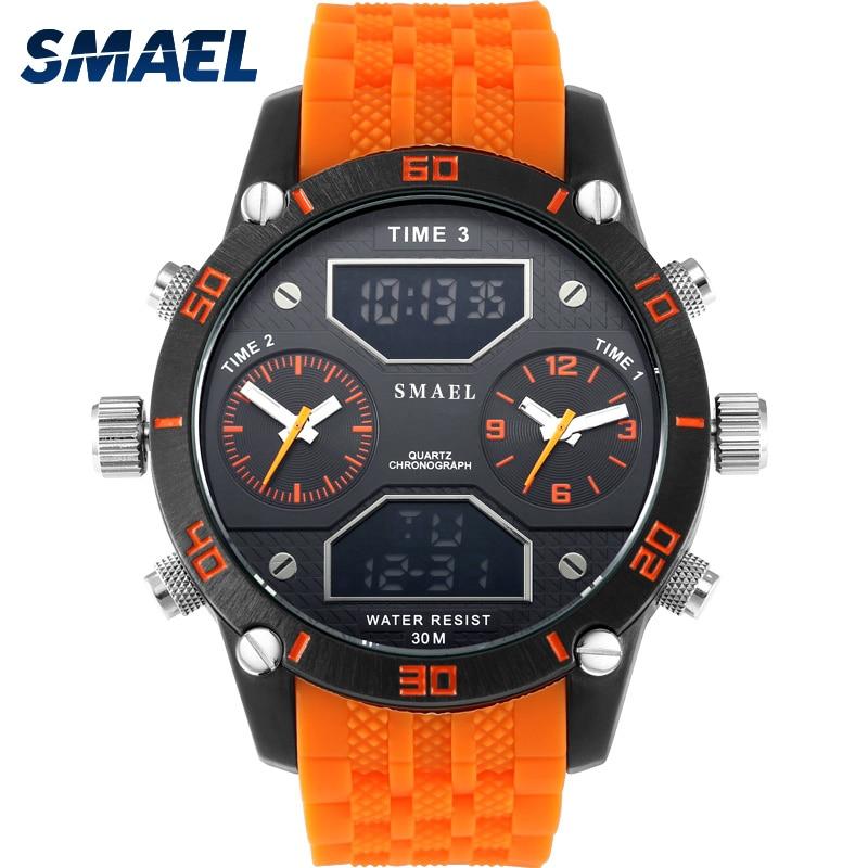 Big Men's Sports Watch Three Time Display LED Digital Quartz Watch Waterproof Dual Time Casual Watch 1159 Men Watch Chronograph
