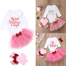 0920ab84805 2018 Toddler Infant Kid Baby Girls Long Sleeves Romper Valentine Jumpsuit  Tutu Skirt Pink Bow Set Clothes Outfits Bow Set