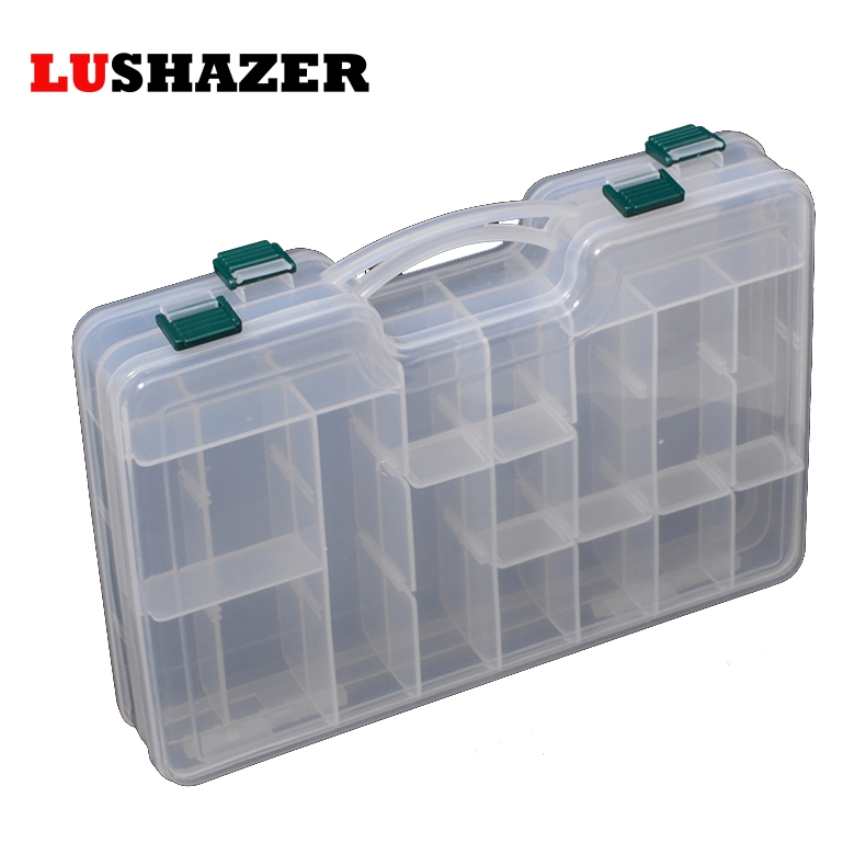 LUSHAZER lures box 29.0*16.0*6.0cm lure box plastic box fishing tools and accessories tackle box for fishing bait free shipping top quality fishing tackle box plastic handle fish box carp fishing lure tool fishing accessories case