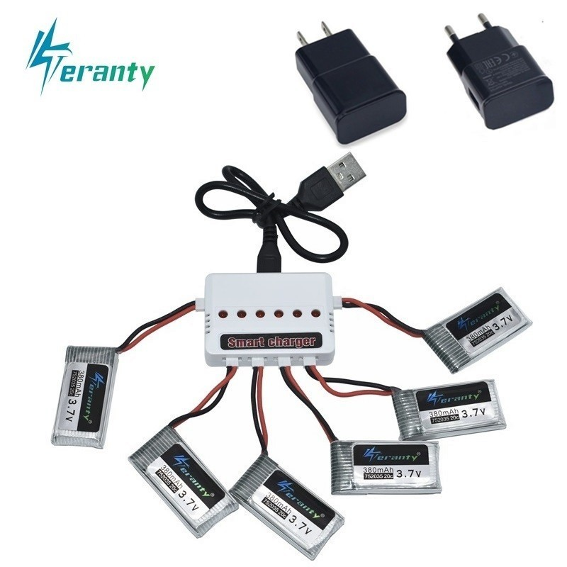 Original Battery With 6in1 Charger For Hubsan X4 H107 H107L H107D JD385 JD388 RC Helicopter Spare Parts 3.7V 380mah lipo battery