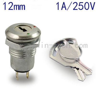 ( 1PC/PACK) 12mm Metal Key Switch 250V ON/OFF Lock Switch KS-02 Electronic Key Rotary Switch With Keys