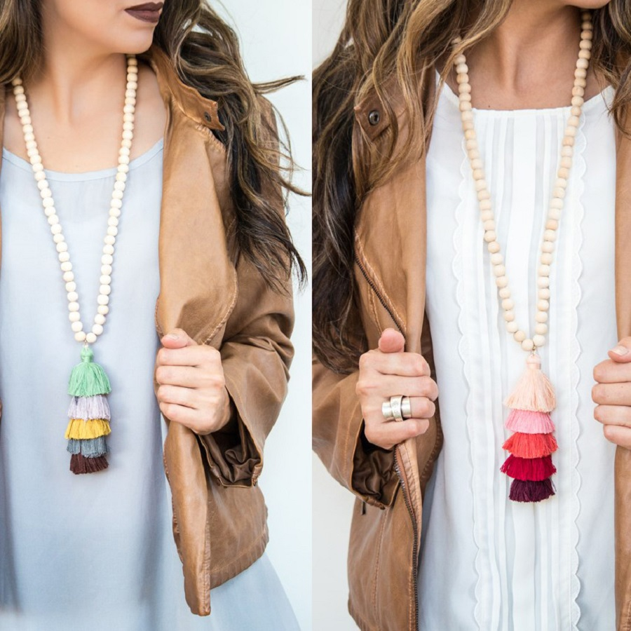 Tassel Necklace Festival 10mm Natural Ivory White Wood Beaded Necklace 5 Layered Cotton Tassels Long Necklace Boho Yoga