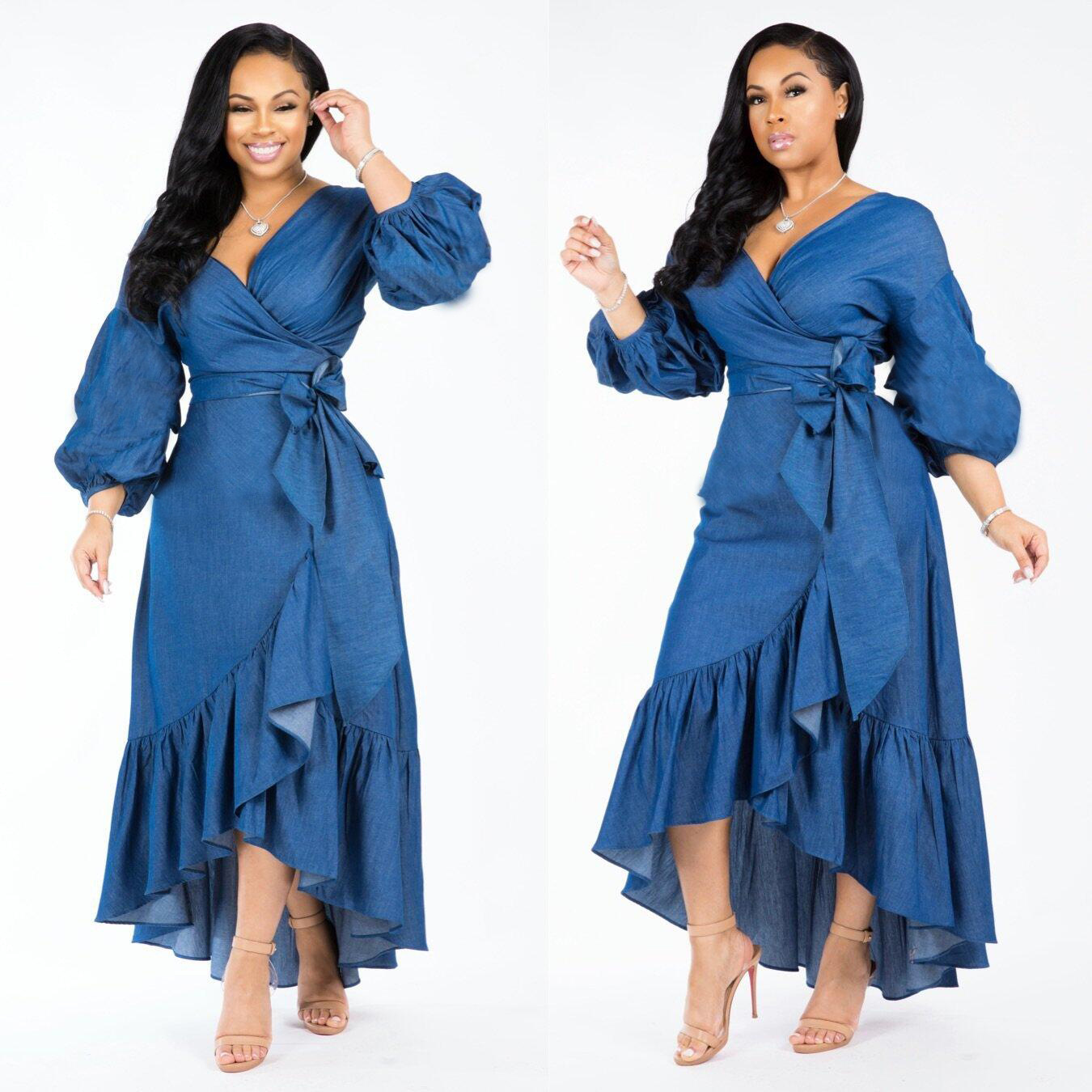 2019 Women Denim Lantern Long Sleeve V-Neck High Waist Belts Ruffle Hem Vintage Maxi Dress Long Dresses DF0617