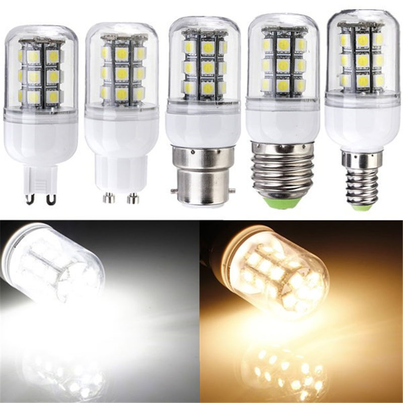 3W LED Light Bulb E27 G9 E14 B22 Gu10 27 SMD 5050 Energy Saving Corn Light Spotlight Bulb Lamp Pure Warm White DC AC 12V chic letters print band embellished women s knitted bowler hat