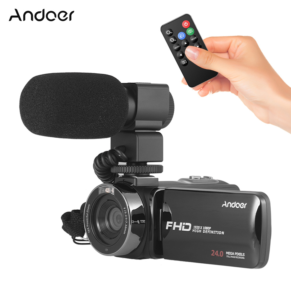 """Andoer Digital Video Camera Camcorder 16X Zoom 3.0"""" LCD Touchscreen IR Night Vision with Hot Shoe+External Microphone+Wild Len-in Consumer Camcorders from Consumer Electronics    1"""