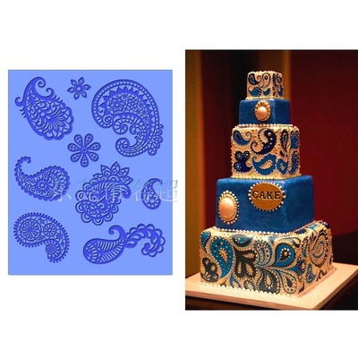DIY Relief Liquid State Cake Baking Mold Sugar Lace Pattern Decorate Silicone Mold Retro Baking H723