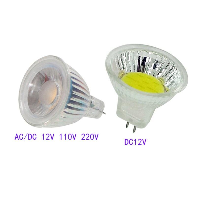 MR11 COB LED projecteur 12 V 110 V 220 V Dimmable lampe à LED ampoule 3 W 7 W 9 W lumière LED chaud/froid blanc GU4 ampoule en verre lampe économiseuse d'énergie