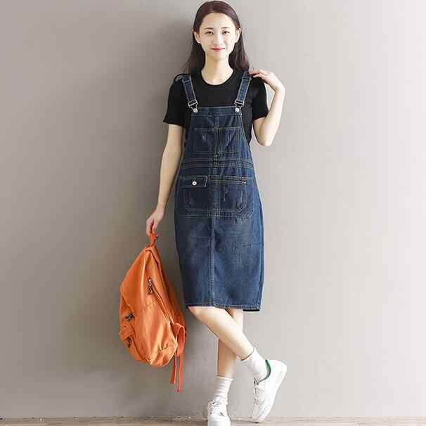 Платье из джинсовой ткани Для женщин 2018 летний костюм средней длины Прекрасный Повседневный ковбойский жилет платье плюс Размеры 5XL Vestidos WF31