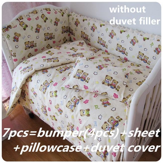 Promotion! 6/7PCS Bear Baby crib bedding sets baby boy crib bedding sets baby bed, duvet cover ,120*60/120*70cm promotion 10pcs crib bedding sets baby bed 100