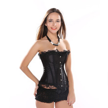 AIZEN Bustiers Corsets with Black Lace Up Trim