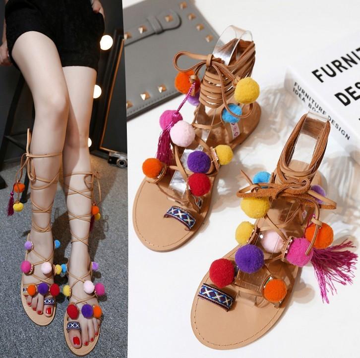 Bohemian Pompon Gladiator Sandals – Free Shipping! HTB1JCbSKpXXXXaGXVXXq6xXFXXXO