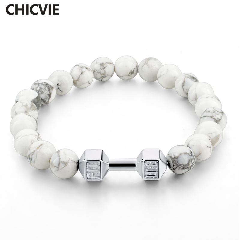Best buy ) }}CHICVIE Natural Stone Bracelets & Bangles For Men Beaded Fit Life Dumbbell Personalized