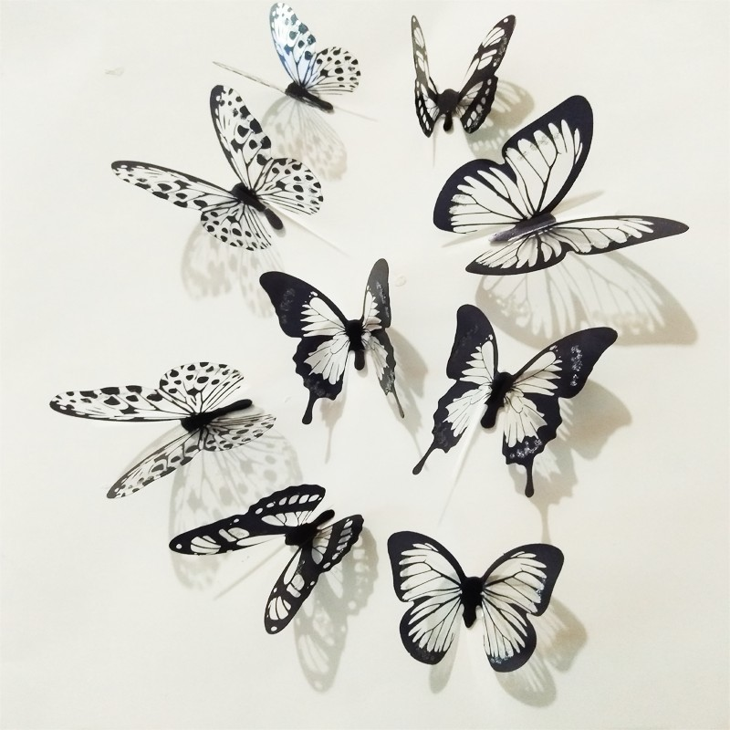 18pcs/lot 3d Effect Crystal Butterflies Wall Sticker Beautiful Butterfly  For Kids Room ...