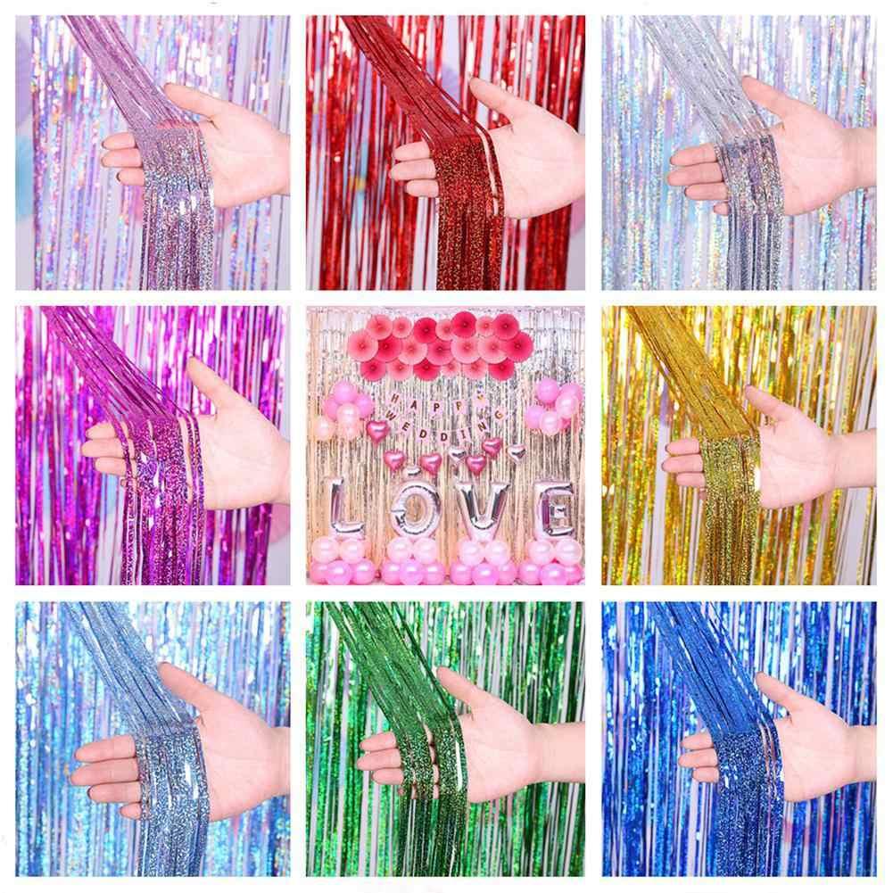 Despedida de soltera fiesta telón de fondo cortinas oro franja de oropel de cortina cumpleaños decoración de la boda para decoración de aniversario