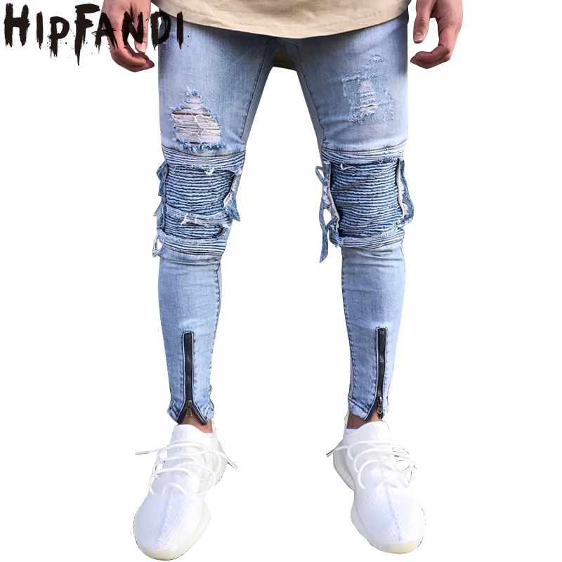 HIPFANDI 2018 New Fashion kinny jeans Ripped biker jeans zipper multi-pocket hole Motorcycle Cargo pants denim trousers