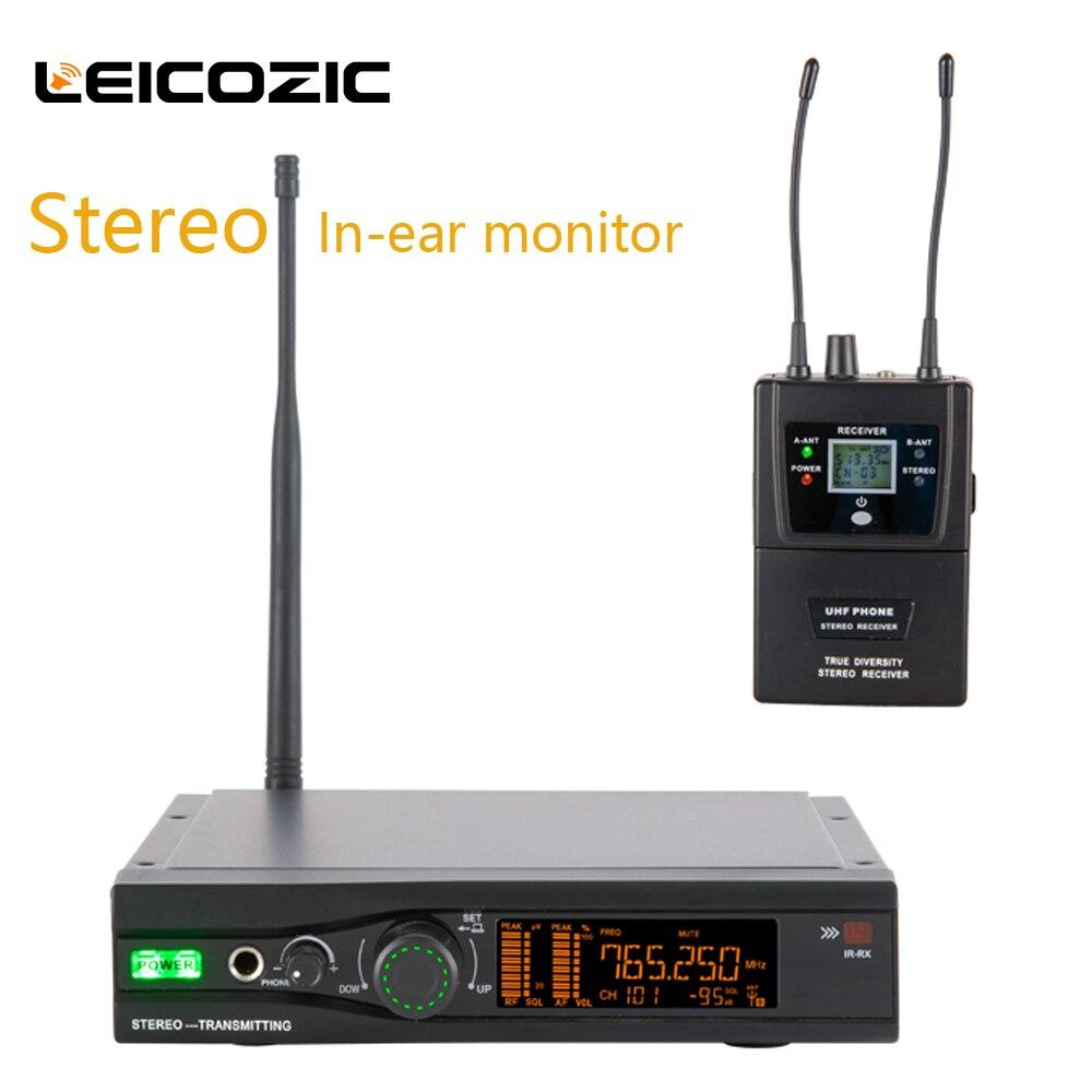 Leicozic stéréo dans l'oreille système de surveillance sans fil professionnel scène oreille moniteur système stéréo vraie diversité récepteur S003IEM