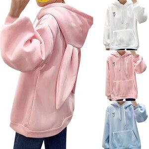 Womens Rabbit Ear Girl Long Sleeve Hoodies Sweatshirt Autumn Winter Cotton Hooded Coat Lovely Female Bunny Hoodies(China)