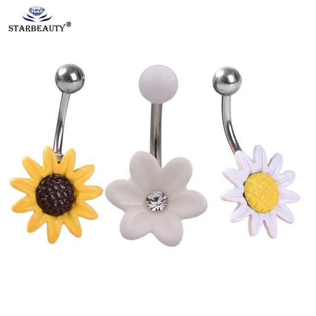 1 cái Bụng Nhẫn Hướng Dương Piercing Belly Button Nhẫn Cơ Thể Piercing Đồ Trang Sức Rốn Cơ Thể Bông Tai Cắm Đồ Trang Sức