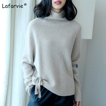 Lafarvie Cashmere Blended Turtleneck Knitted Sweater Women Tops Autumn Winter Soft Warm Female Pullover Knitting Loose