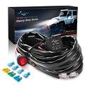 Mictuning 12awg carro led barra de luz cablagens kit com 60a ligar/desligar à prova dwaterproof água interruptor de balancim relé conjunto para 300 w 2 led lâmpada trabalho