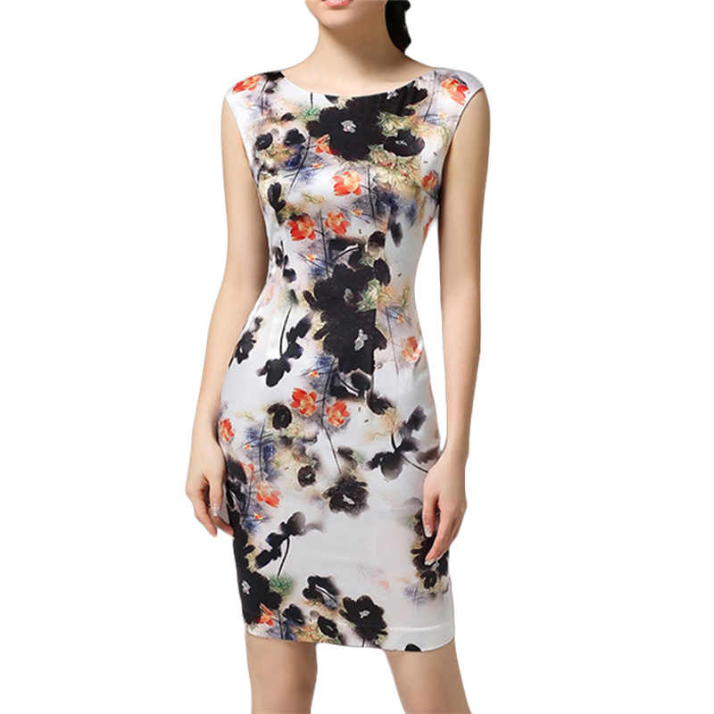 Women's Spring Summer Sleeveless Dresses Vintage High-end Floral Woman Silk Party Sexy Slim Dress Femme Vestidos Plus Size New