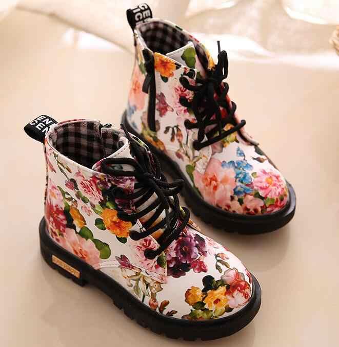 2018 г., Осенняя детская обувь martin ботинки для девочек с милым принтом кожаные ботинки для младенца из искусственной кожи детская обувь для девочек, Chaussure Fille
