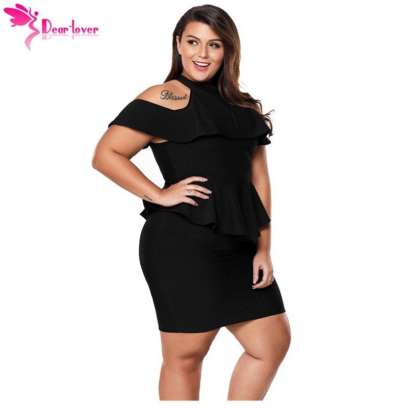 7e29bd8e8ce5f Dear Lover Sexy Women Clubwear Summer 3XL Black Plus Size Cold Shoulder  Peplum Bodycon Dress Big Size Vestidos Business LC220308-in Dresses from ...