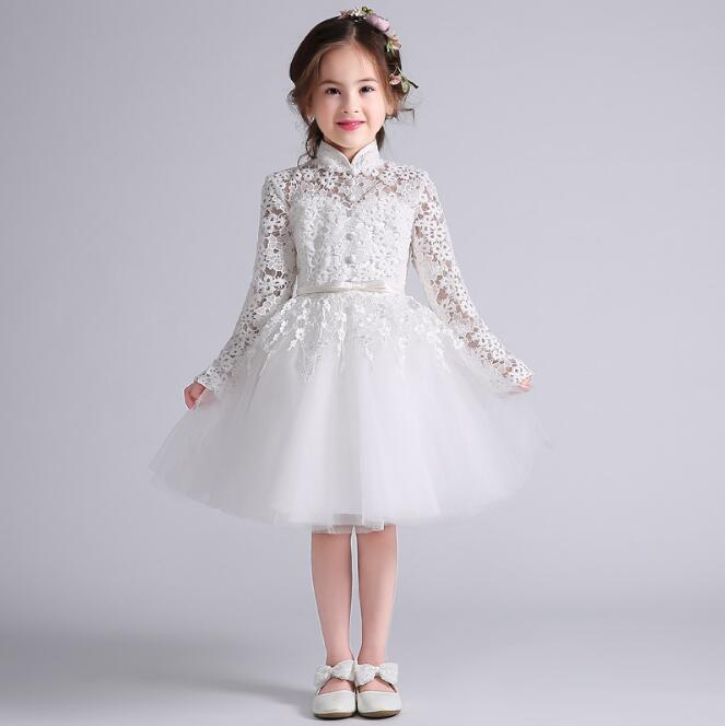New Long Sleeve Girls Birthday Dress Knee Length White Lace A Line Baby Girls Birthday Party Dress new white ivory nice spaghetti straps sequined knee length a line flower girl dress beautiful square collar birthday party gowns