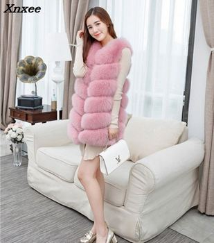 2018 Faux Fur Vest Fashion Coats Women Sleeveless Long fur Jacket Gilet Fourrure manteau femme faux vests S-4XL