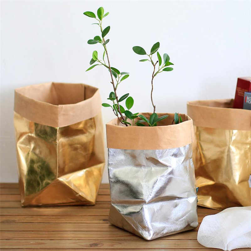 Multi Purpose home Flower Decor Washable Plant Flowers Pots Craft Paper Holder Bag Desk Bonsai Art Vase Pot Reusable M3