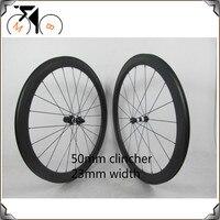 Road Bike Carbon Wheels Road Clincher Wheels 700C Bike Wheelsets 23mm Wide 50mm Carbon Clincher Wheelset