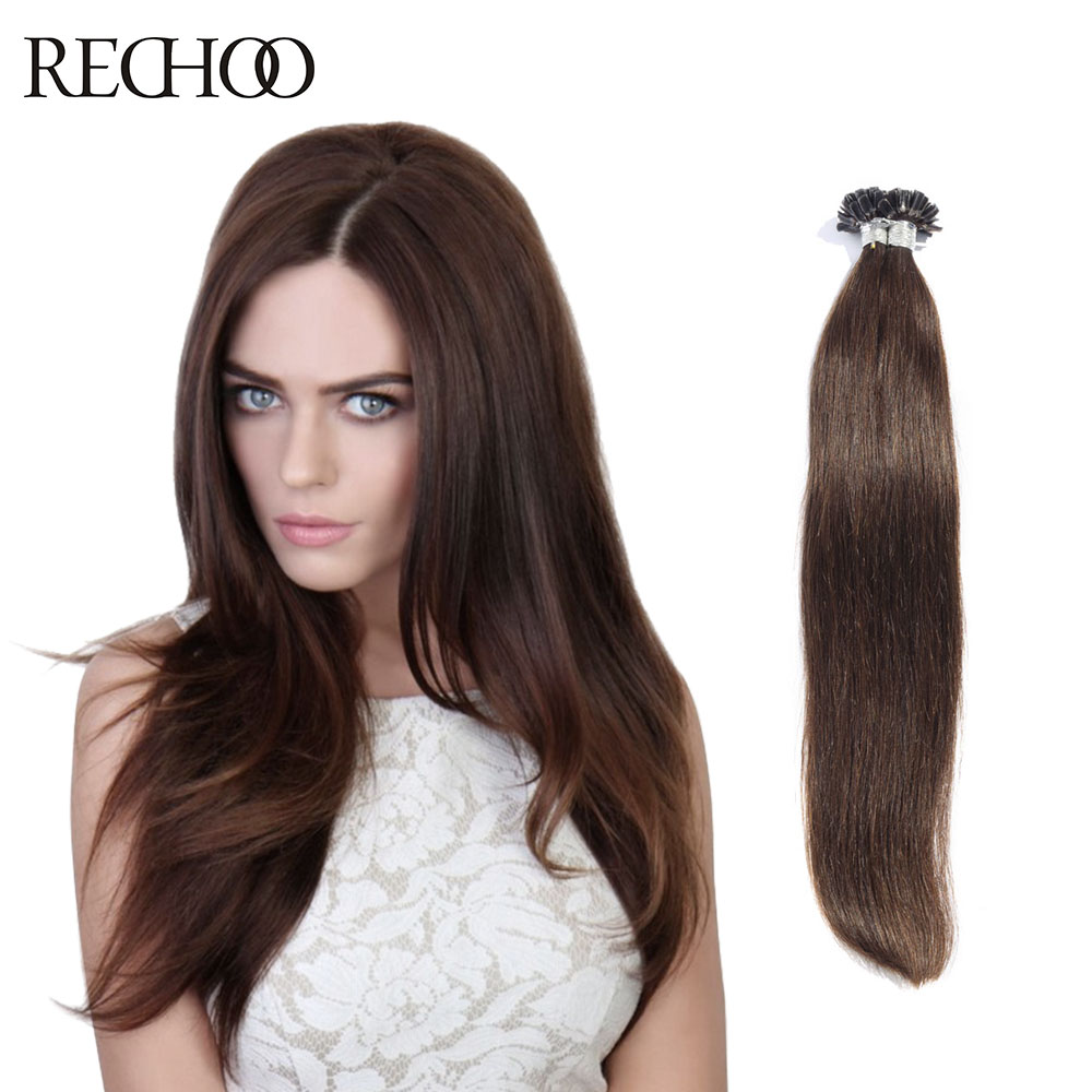 Rechoo 1g Strand Nail U Tip Pre Bonded Keratin Glue Non Remy Natural Hair Extensions 100 Strands 18inch 26inch Real Human In From