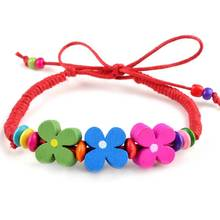 6pcs/lot Wholesale Chic Multicolor Handmade Wood Bracelet Flower Charm Bracelets Wristband Leather chain Jewelry Drop Free