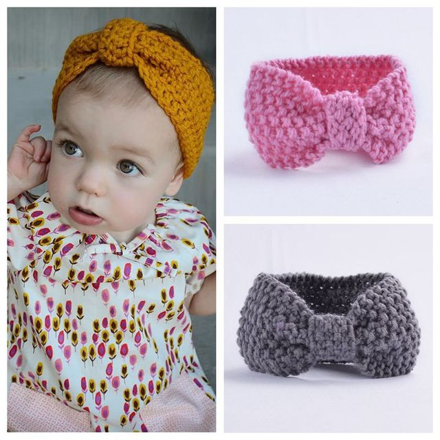 Newborn Baby Crochet Knit Top Knot Elastic Turban Headband Head Wrap ...