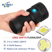 Super bright flashlight 3 cree xhp70 led flash light lumen waterproof torch 4 X 18650 battery Lanterna latarka linterna zaklamp