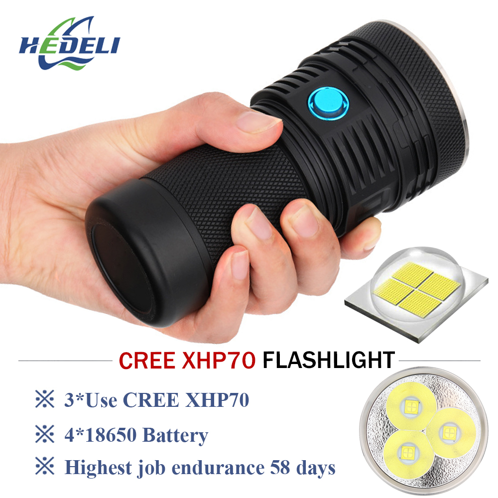 Super bright flashlight 3 cree xhp70 led flash light lumen waterproof torch 4 X 18650 battery Lanterna latarka linterna zaklamp super bright flashlight 3 led xhp70 hand torch lamp professional waterproof 18650 battery flash light torch linterna tactica