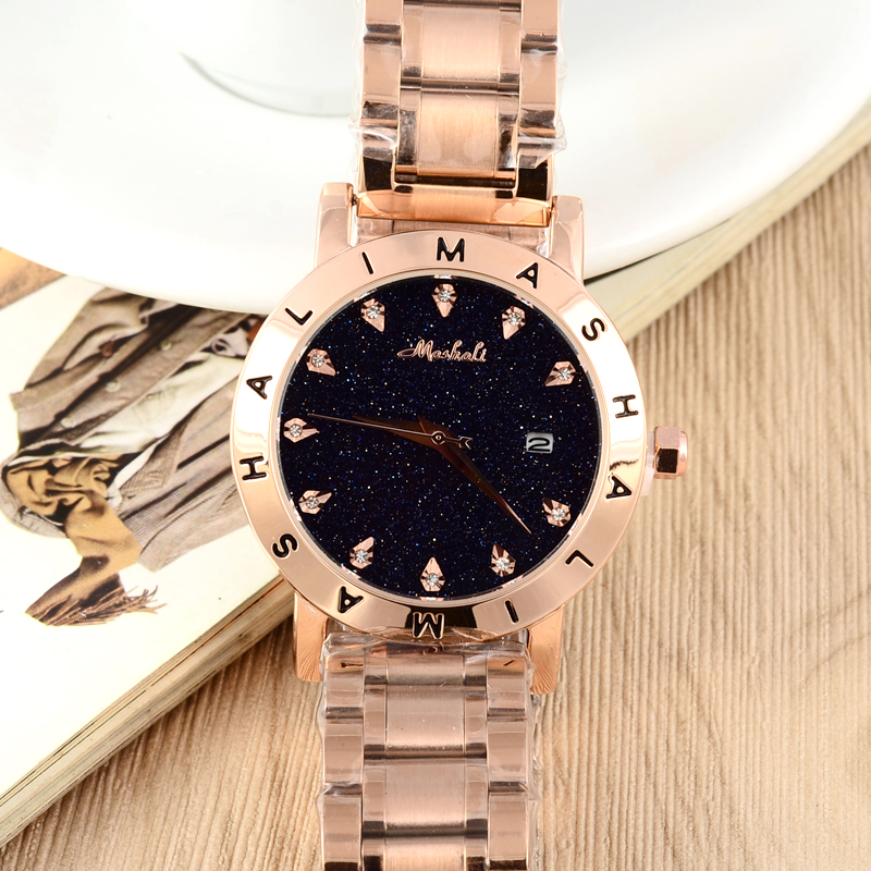 2017 New Arrival MASHALI Heavy Metals Steel Bracelet Watches Crystals Quartz Calendar Wristwatch Neutral Women Clock Analog W064