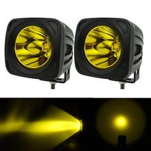 цена на 2pcs 12v 24v extermal light 25w Square LED Work Light 3000K Yellow Spot led work lamp for 4x4 Offroad ATV Truck Driving Light