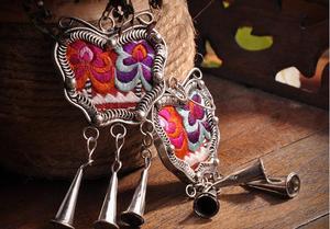 Новые Сережки в народном стиле, креативные серьги-бабочки ручной работы с серебряной вышивкой в стиле ретро Miao