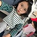 4 5 6 7 8 9 10 11 12 13 t meninas roupas de primavera 2017 Ternos Do Esporte Camisa Listrada + Calça 2 pcs Roupas Da Moda Crianças Meisjes Kleding