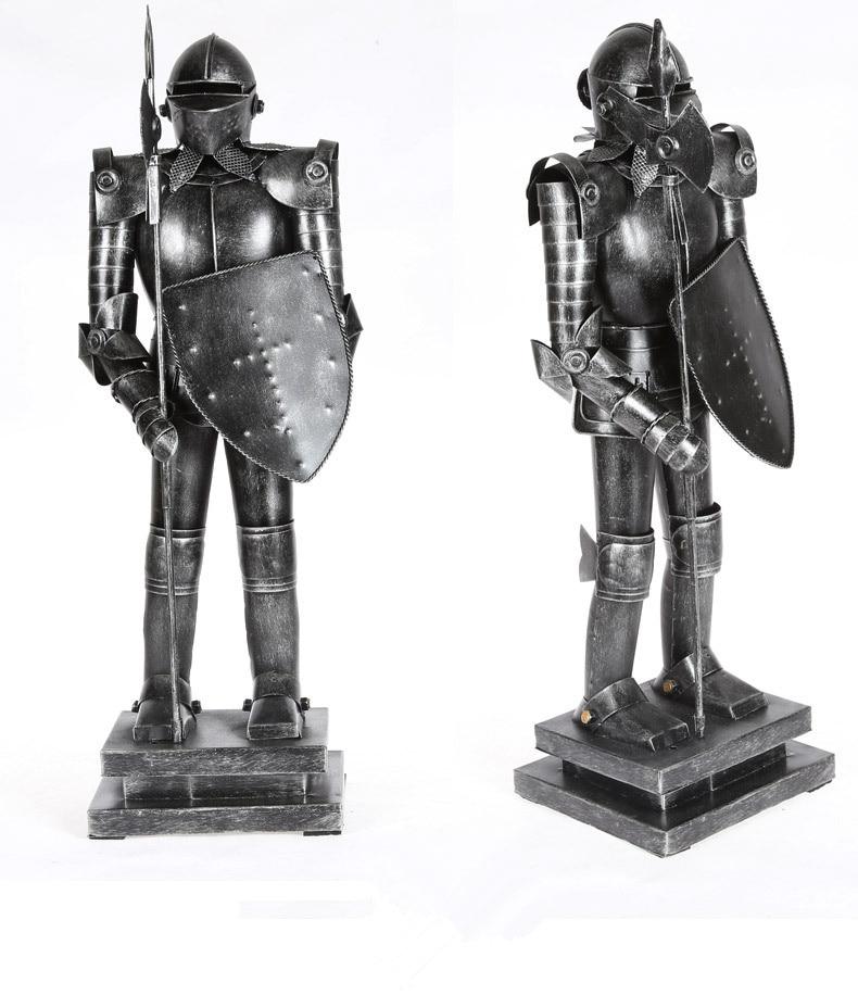 Shield Warrior Armor Warrior Hero Retro Iron Armor Warrior Ornaments Knight Decoration Best Gift Handmade Crafts A in Figurines Miniatures from Home Garden