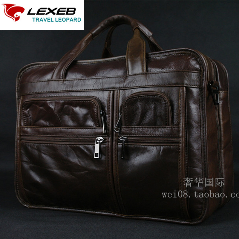 Vintage Men's Genuine Leather Briefcase Men Business Bag Brand LEXEB High Quality Laptop Bags 15 Double Zippers Open Coffee lexeb brand lawyer briefcase vintage crazy horse leather men laptop bag 15 inches high quality office bags 42cm length brown