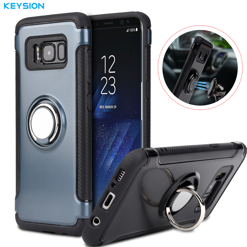 KEYSION Case for Samsung Galaxy S8 S8 Plus Car Holder Stand Magnetic Suction Bracket Finger Ring TPU + PC Cover for G950 G955