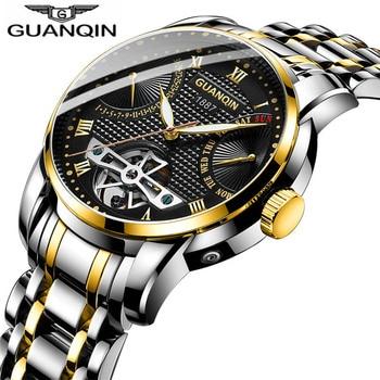 Luxury Swim Tourbillon Watches Luminous Men Waterproof 50M Steel Hollow Watch Auto Date Mechanical Watch Montre Homme 2019 NEW