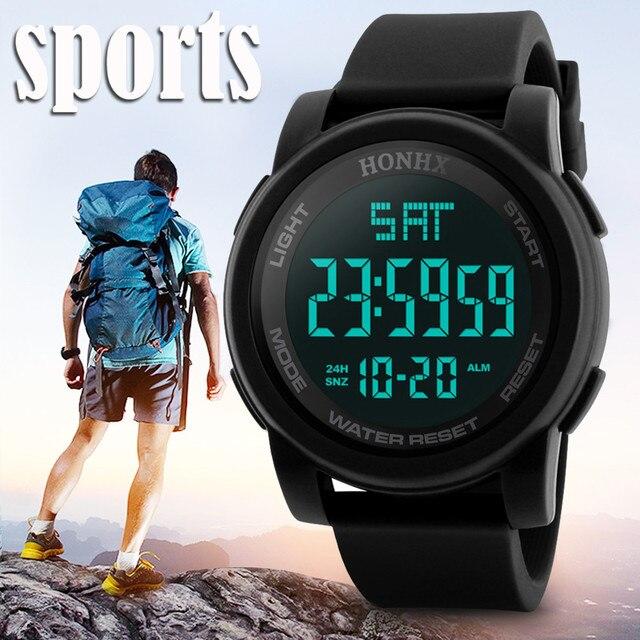 78cb36a7549 2018 Novo Relógio Militar Homens Esportes Relógios Moda Silicone À Prova D   Água LED Relógio