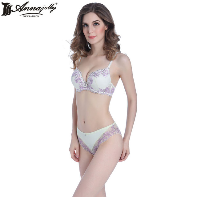 Annajolly Women Lace Push Up Bra Set Top Briefs Cups Women Clothing Lingerie Underware Sexy Panties And Bra Set Arrival U1131