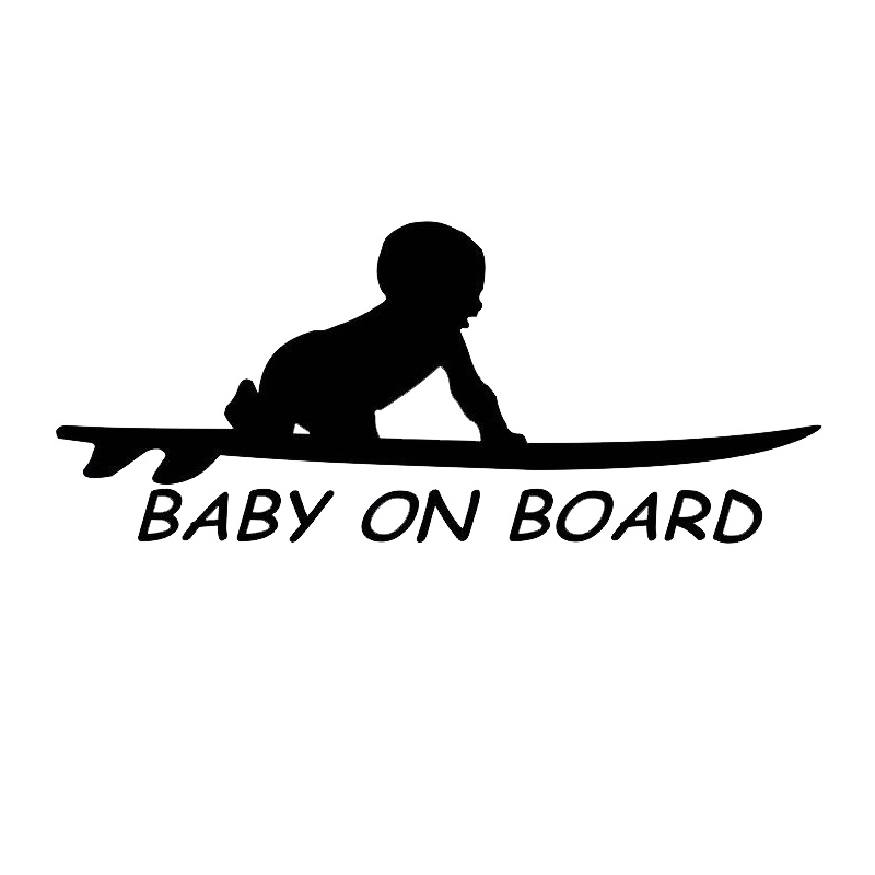[WB027]Baby On Board Surf Surfing Surfboard Car Truck Window Funny Vinyl Decal Stickers Motorcycle Sticker
