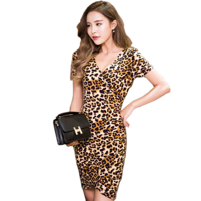 Leopard Sexy Cross V-neck Dress Xxxxl Plus Size Women 2017 Summer Summer Dresses Cotton Short Sleeve Dress Womens Casual Wear