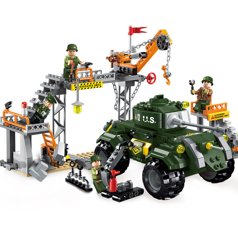 Models building toy ENLIGHTEN 1712 Military Battle Factory Scene Armored Car Building Blocks compatible with lego toys & hobbies